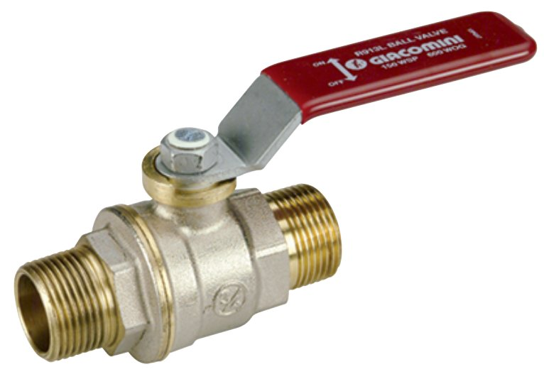 R913L - Full port ball valve - Male/Male - Red steel lever handle