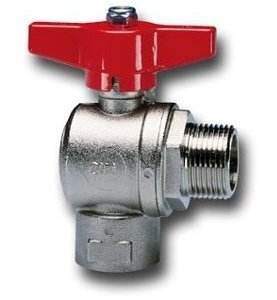 Cim 230 - Full bore Angle ball valve - Female/Male threads- Red Aluminium butterfly handle