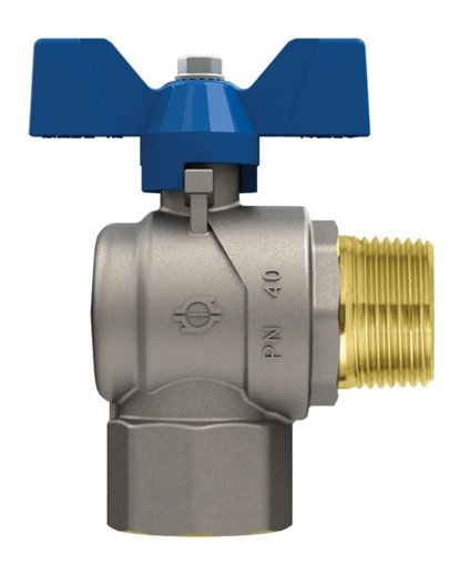 EVOLUTION GP2240/6771R - Full bore Angle ball valve - Female/Male threads- Blue Aluminium butterfly handle