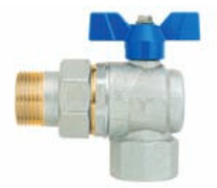 EVOLUTION GP2240/6774R - Full bore Angle ball valve - Female/Male tail piece - Blue Aluminium butterfly handle