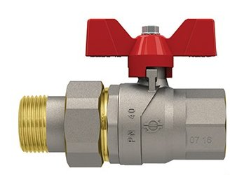 EVOLUTION GP2240/86005 - Full bore ball valve - Male/Female threads- Male tail piece - Red Aluminium butterfly handle