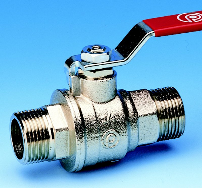 Pettinaroli 51/2 - Full flow ball valve - Male/male thread- red steel lever handle