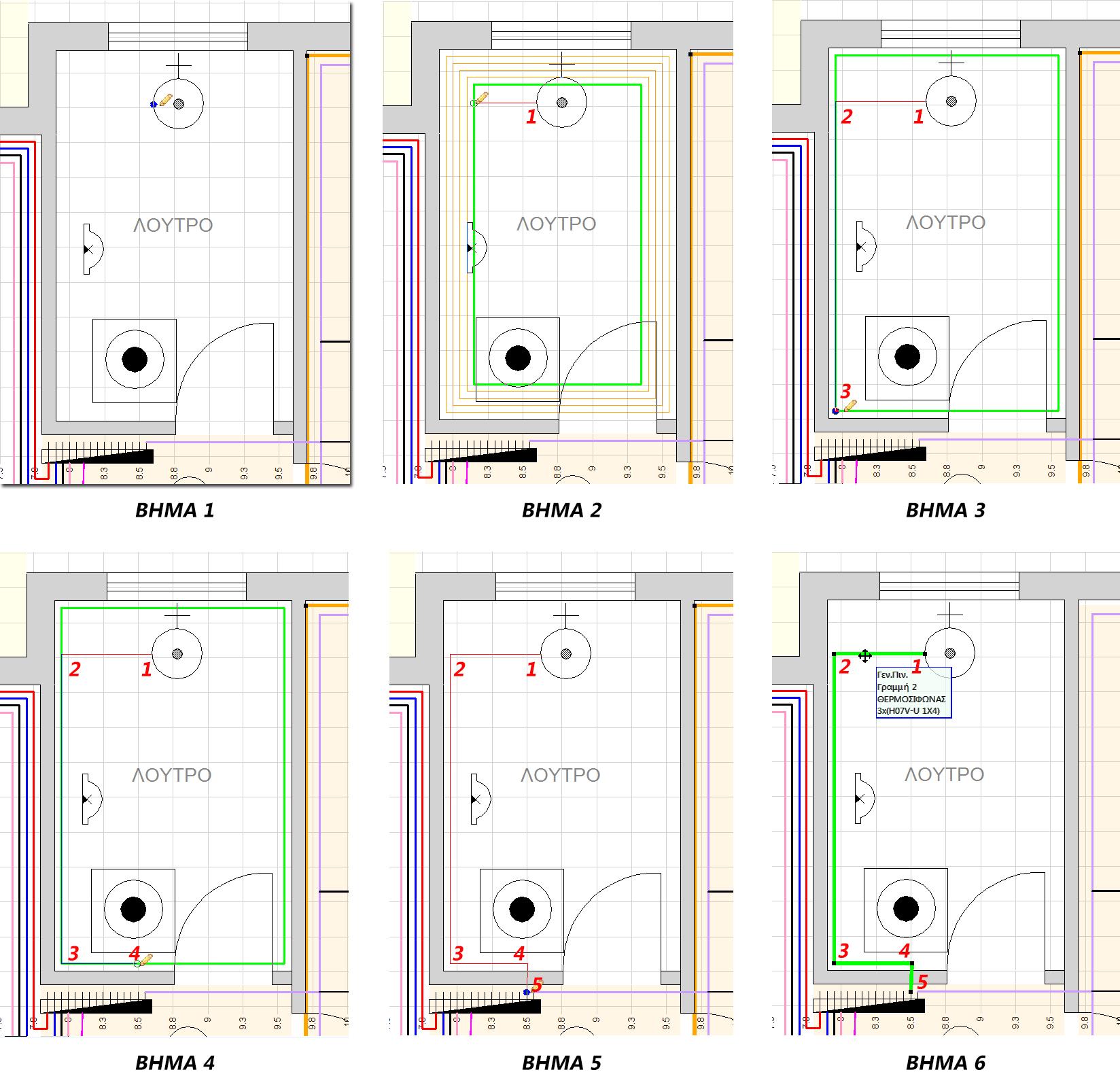Τα βήματα για τη σχεδίαση της γραμμής του θερμοσίφωνα