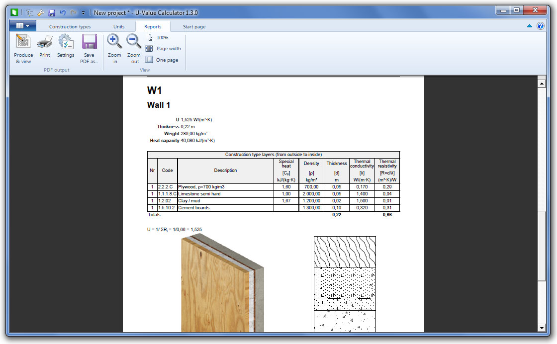 Produce PDF reports of your construction types with their 2D and 3D cross-section.